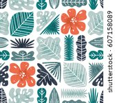 tropical leaves seamless... | Shutterstock .eps vector #607158089