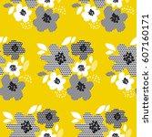 tropical summer concept floral... | Shutterstock .eps vector #607160171
