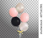 set of silver  pink  black... | Shutterstock .eps vector #607161581