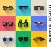 set of different shapes... | Shutterstock .eps vector #607169711