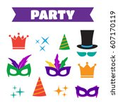 party birthday photo booth... | Shutterstock . vector #607170119