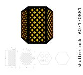 cut out template for lamp ... | Shutterstock .eps vector #607170881