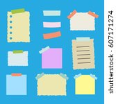 colorful sticky paper note... | Shutterstock . vector #607171274