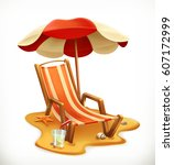 beach umbrella and lounge chair.... | Shutterstock .eps vector #607172999
