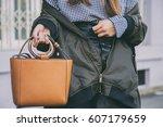 close up fashion details  woman ... | Shutterstock . vector #607179659