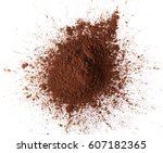 pile cocoa powder isolated on... | Shutterstock . vector #607182365