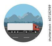 semi trailer truck on the... | Shutterstock .eps vector #607182989