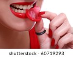 Stock photo girl and condom isolated on white 60719293