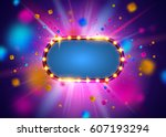glowing lights retro frame for... | Shutterstock .eps vector #607193294