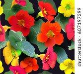 seamless pattern of nasturtium... | Shutterstock .eps vector #607197299