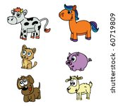 cute domestic animals set | Shutterstock .eps vector #60719809