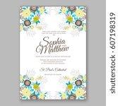 elegant yellow rose wedding... | Shutterstock .eps vector #607198319