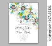 elegant yellow rose wedding... | Shutterstock .eps vector #607198331
