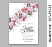 elegant yellow rose wedding... | Shutterstock .eps vector #607198355