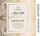 antique baroque luxury wedding... | Shutterstock .eps vector #607198421