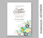 elegant yellow rose wedding... | Shutterstock .eps vector #607198439