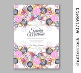elegant yellow rose wedding... | Shutterstock .eps vector #607198451