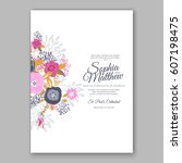 elegant yellow rose wedding... | Shutterstock .eps vector #607198475