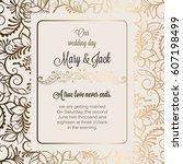 antique baroque luxury wedding... | Shutterstock .eps vector #607198499
