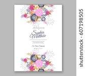 elegant yellow rose wedding... | Shutterstock .eps vector #607198505
