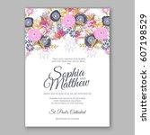 elegant yellow rose wedding... | Shutterstock .eps vector #607198529
