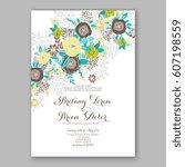 elegant yellow rose wedding... | Shutterstock .eps vector #607198559