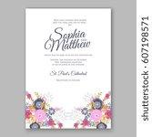 elegant yellow rose wedding... | Shutterstock .eps vector #607198571