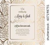antique baroque luxury wedding... | Shutterstock .eps vector #607198751