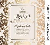 antique baroque luxury wedding... | Shutterstock .eps vector #607198859