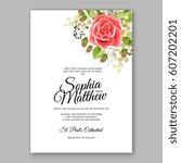 red rose wedding invitation... | Shutterstock .eps vector #607202201
