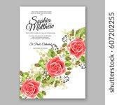 red rose wedding invitation... | Shutterstock .eps vector #607202255
