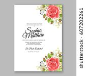 red rose wedding invitation... | Shutterstock .eps vector #607202261