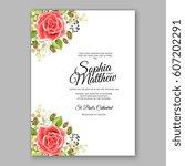 red rose wedding invitation... | Shutterstock .eps vector #607202291