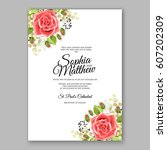 red rose wedding invitation... | Shutterstock .eps vector #607202309