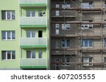 apartment building with... | Shutterstock . vector #607205555