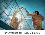 beach volleyball players in... | Shutterstock . vector #607211717