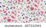 seamless floral pattern in... | Shutterstock .eps vector #607212341