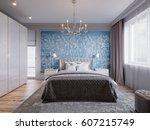 modern bedroom interior design... | Shutterstock . vector #607215749