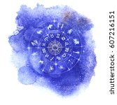 circle with signs of zodiac and ... | Shutterstock .eps vector #607216151