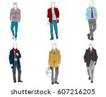 vector illustration of six... | Shutterstock .eps vector #607216205