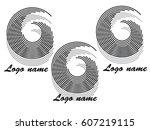 set of round shape logo design... | Shutterstock .eps vector #607219115