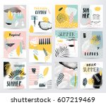 abstract summer tropical set | Shutterstock .eps vector #607219469