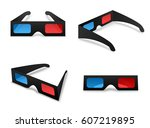 3d glasses isolated collection... | Shutterstock .eps vector #607219895