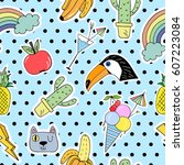seamless pattern with cartoon... | Shutterstock .eps vector #607223084