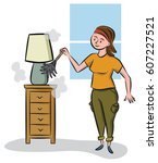 A Woman Dusts The Furniture...
