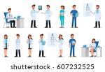 set of doctor character design. | Shutterstock .eps vector #607232525
