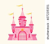 illustration with a castle in a ... | Shutterstock .eps vector #607235351