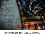 usa flag vintage background | Shutterstock . vector #607240997