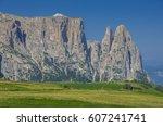 schlern sciliar ridge with... | Shutterstock . vector #607241741