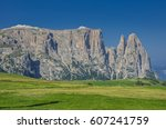 schlern sciliar ridge with... | Shutterstock . vector #607241759